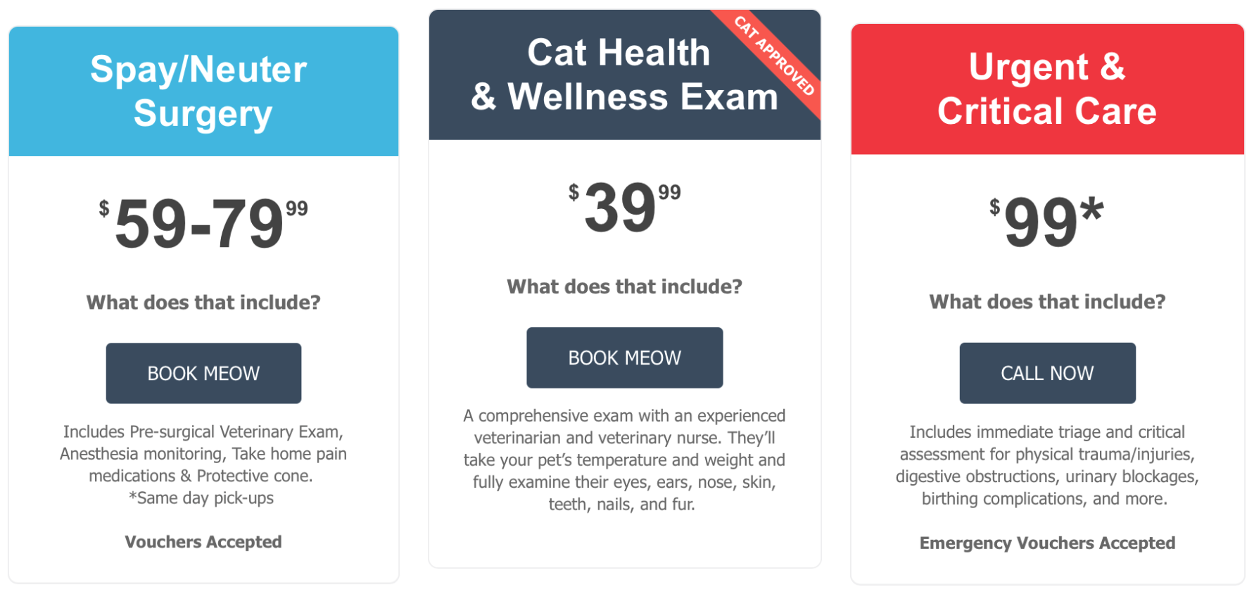 Goodcat Veterinary Hospital Pricing
